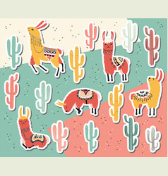 llama and cactus sticker collection vector image