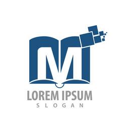 logo concept design digital book initial letter m vector image