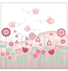 Lovely flowers and cute bees vector