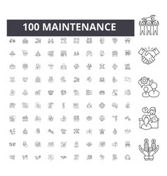 Maintenance line icons signs set outline vector
