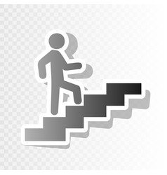 man on stairs going up new year blackish vector image