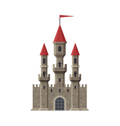 Medieval fairytale castle with towers and flag vector