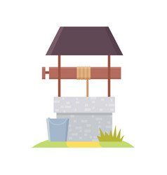 Medieval well in cartoon style vector