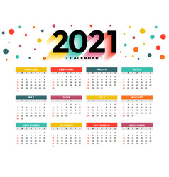 Modern 2021 new year calendar design template vector