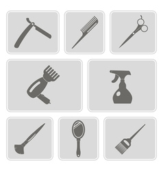 monochrome icons with hairdressing supplies vector image