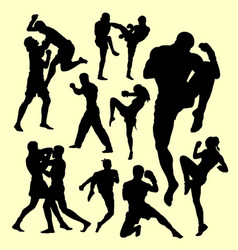 Muay thai boxing sport silhouette vector