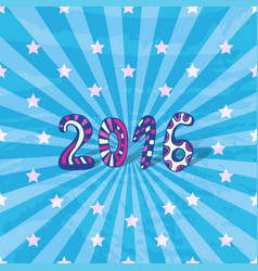 New year background 2016 doodle bright blue card vector