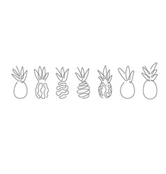 One line art style a pineapple abstract food vector