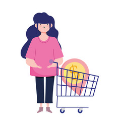 Online payment woman money and cart purchase vector