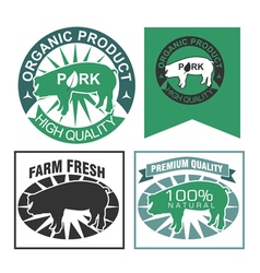 Organic Pork Label Set vector image
