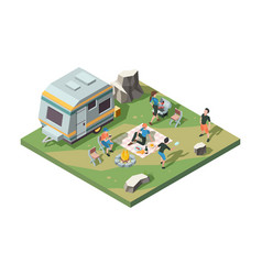 outdoor picnic party camper fire place tent camp vector image