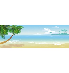 panoramic tropical beach with palm vector image