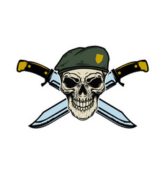 paratrooper skull with crossed knives design vector image