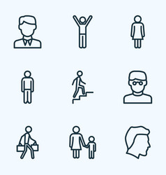 People outline icons set collection of pulling vector