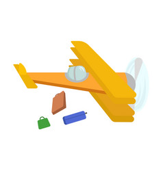 picture of an isolated yellow plane from which vector image
