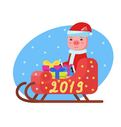 pig in costume sits in a sleigh with gifts vector image