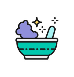 potion bowl magic mortar and pestle flat color vector image