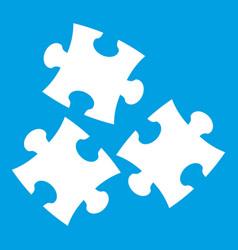 Puzzle icon white vector