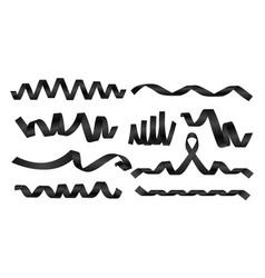 realistic black ribbons silk ribbons vector image