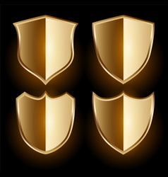 realistic golden shield badges and labels set vector image