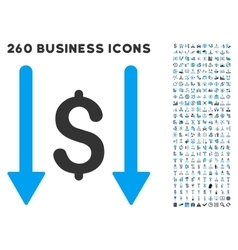 Receive Money Icon with Flat Set vector