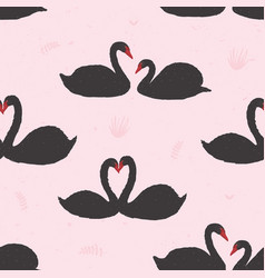 seamless pattern with black swans floating in pond vector image