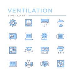set color line icons ventilation vector image