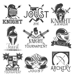 set heraldic knight labels in vintage vector image