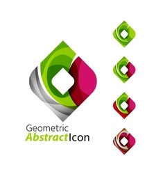Set of abstract geometric company logo square vector image
