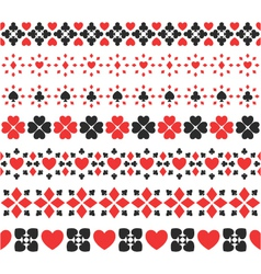 Set of seamless card suits ribbons vector