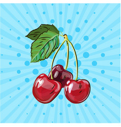 several ripe cherries on a branch on a blue vector image