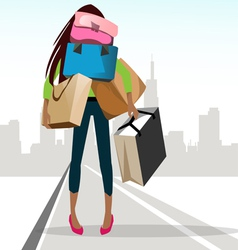 Shopping girl vector image