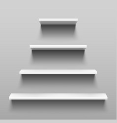 simply shelves on white wall for indoor interior vector image