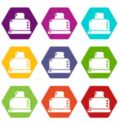 steal toaster icons set 9 vector image