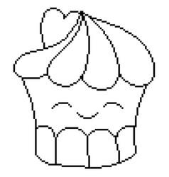Sweet cupcake design pixel art vector