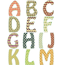 the letters alphabet made fruits and vector image