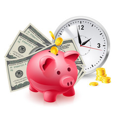 Time is money pig moneybox and money with office vector