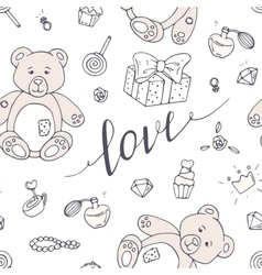 Valentines day seamless pattern with LOVE hand vector image