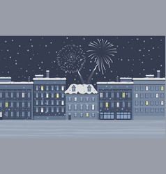 winter city at night with firework at sky vector image