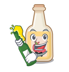 With beer bottle apple cider above cartoon table vector