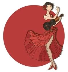 Woman dancing flamenco vector