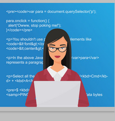 Young pretty woman programmer sitting vector