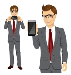 businessman displaying his smartphone vector image vector image