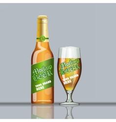 Digital glass of beer with foam vector image vector image