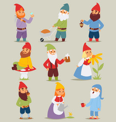 Gnome garden set funny little characters cute vector