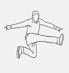 jumping sport male action sketches vector image vector image