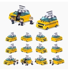 Taxi hatchback with the passengers vector image vector image