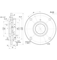 Bearing sketch with chamfers engineering drawing vector