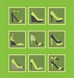 feminine green high heel shoes square icons set vector image vector image