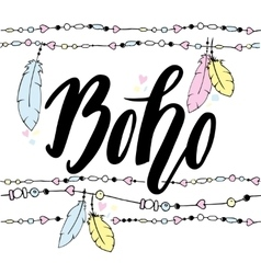 Hand drawn sign in boho style with handdrawn vector image vector image